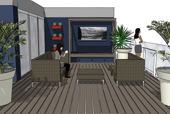 Roof Terrace Islington perspective featuring built-in bench and outdoor furniture