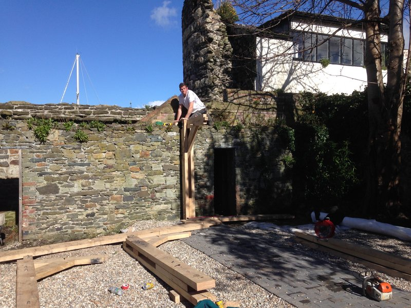 Construction of an oak pergola within a walled garden