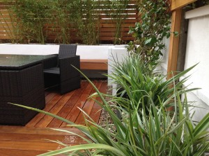 Small contemporary garden with hardwood decking and rattan furniture