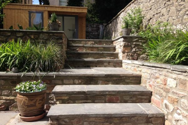 Slate steps in terraced garden