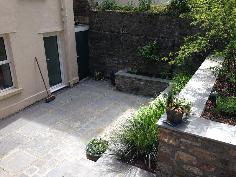 View down onto slate patio