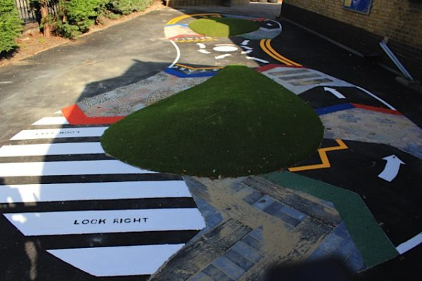 School racetrack for bikes and trikes