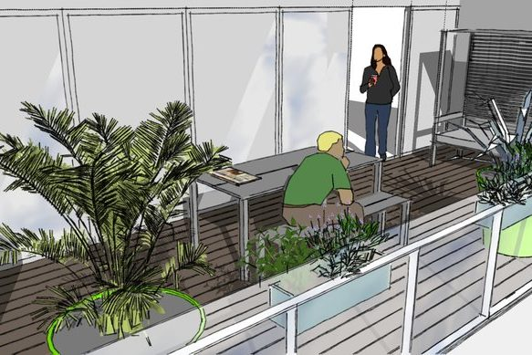Roof Terrace Islington perspective featuring planters , table and benches