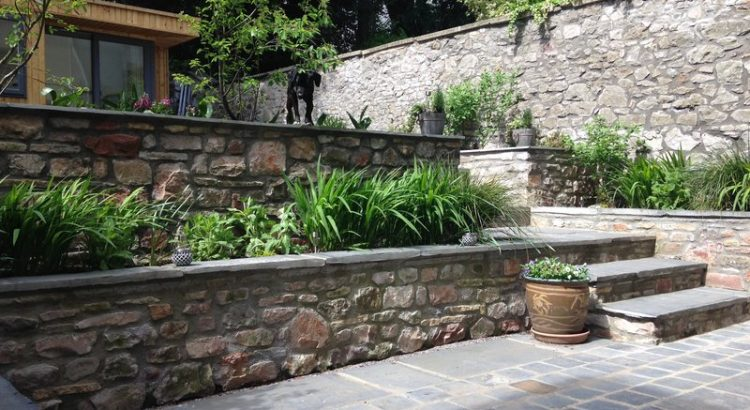 Raised beds in a terraced, family garden