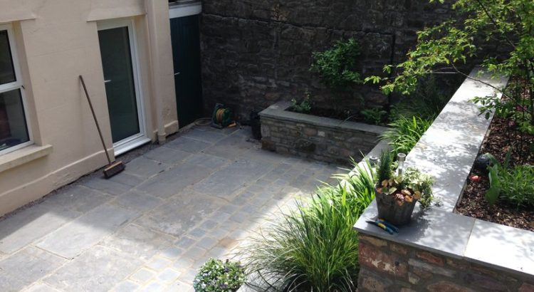 View down onto slate patio